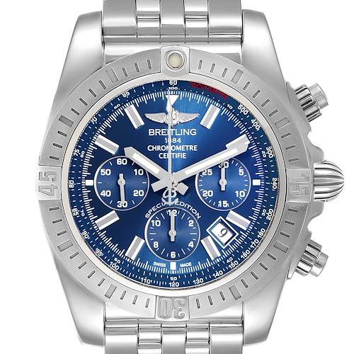 Photo of Breitling Chronomat 44  Blue Dial Steel Mens Watch AB0115