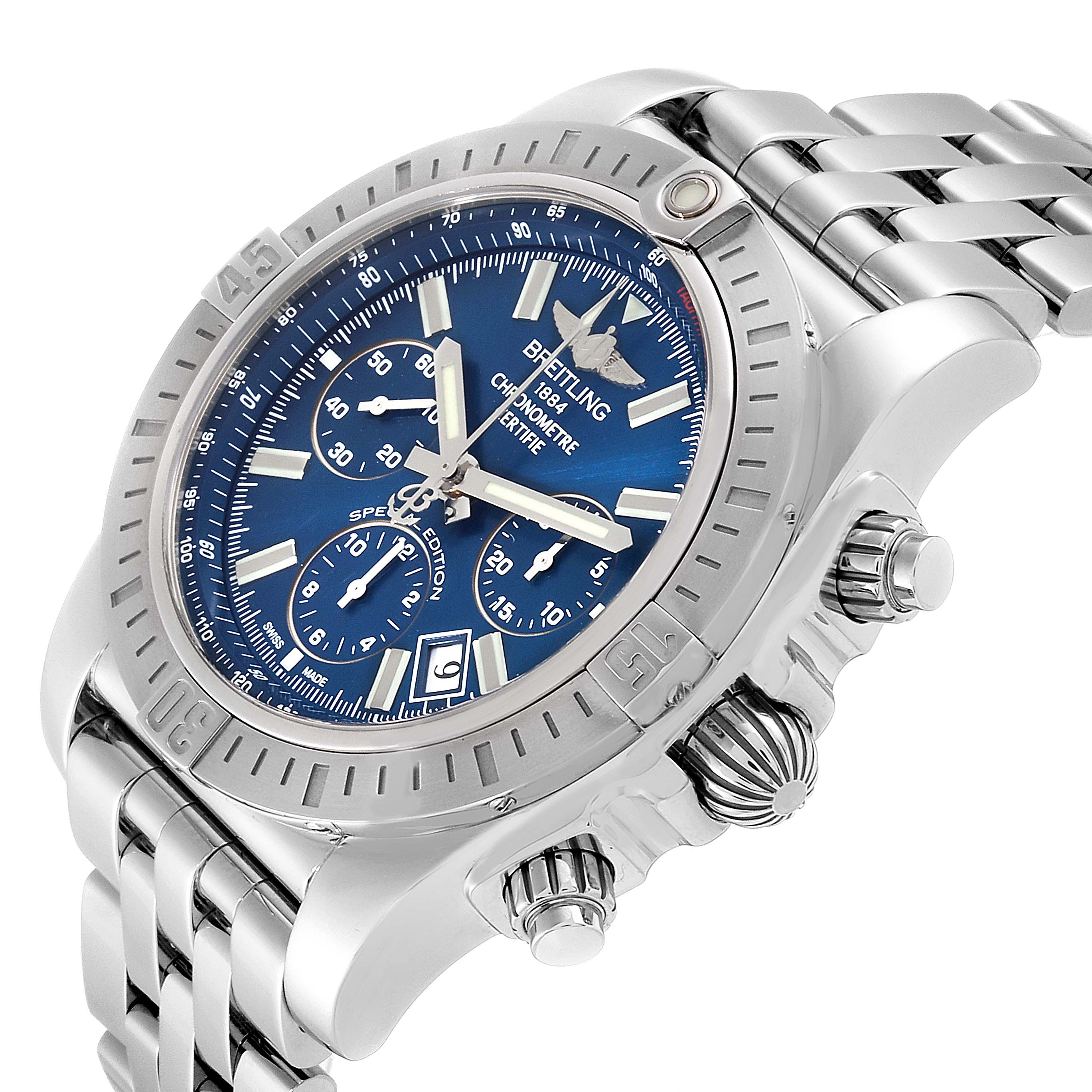 Breitling Chronomat 44  Blue Dial Steel Mens Watch AB0115 SwissWatchExpo