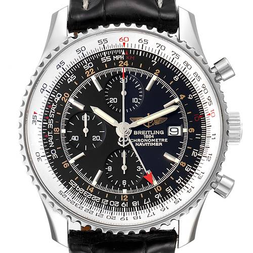 Photo of Breitling Navitimer World GMT Steel Black Dial Mens Watch A24322 Box Papers