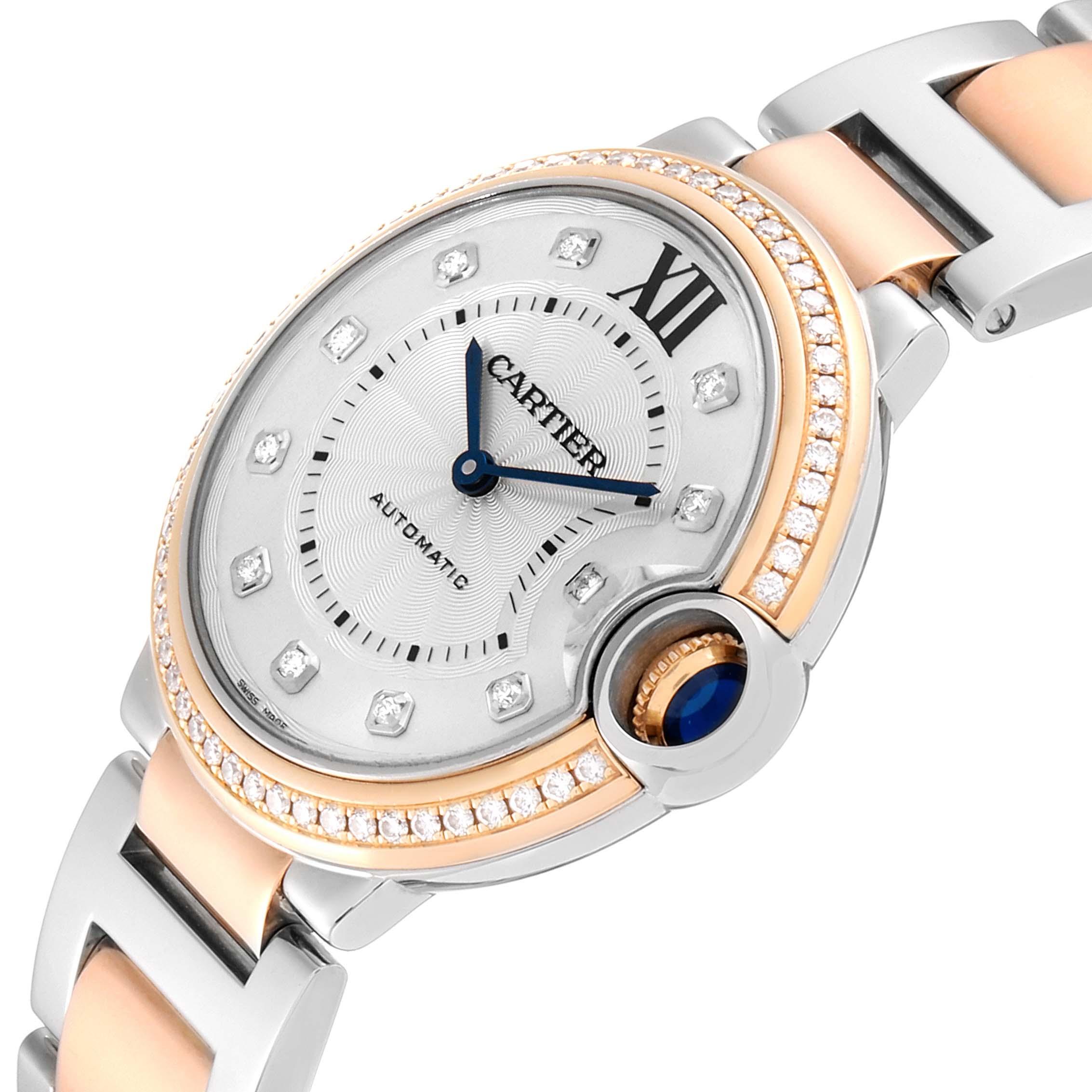 Cartier Ballon Blue Steel Rose Gold Diamond Ladies Watch WE902078 Box Papers SwissWatchExpo