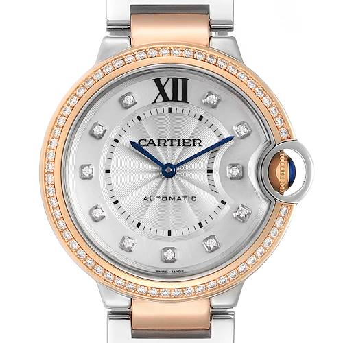 Cartier Ballon Blue Steel Rose Gold Diamond Ladies Watch WE902078 Box Papers