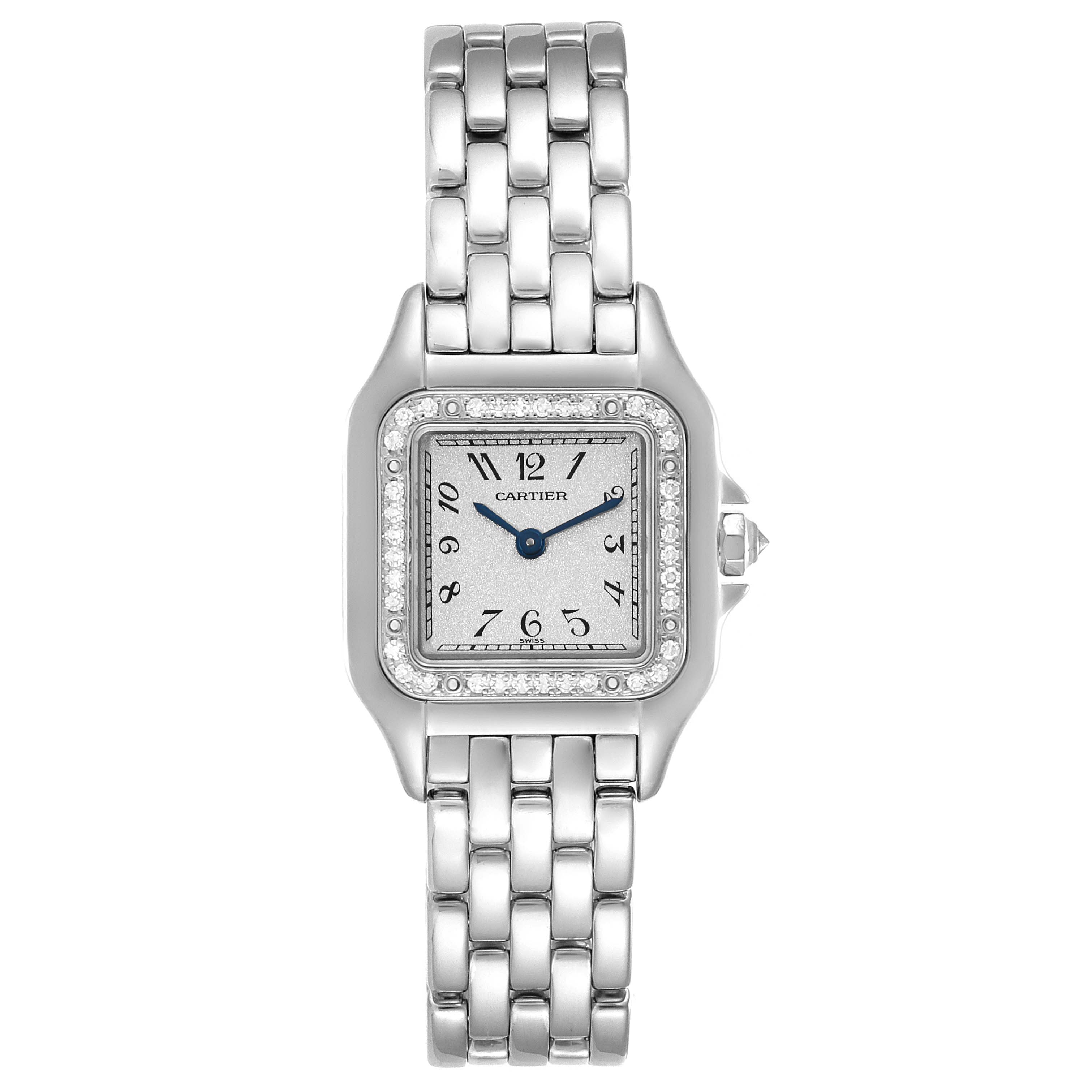 Cartier Panthere Ladies 18k White Gold Diamond Watch WF3091F3 SwissWatchExpo