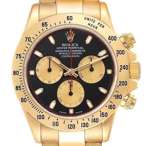 Photo of Rolex Cosmograph Daytona Yellow Gold Black Dial Mens Watch 116528