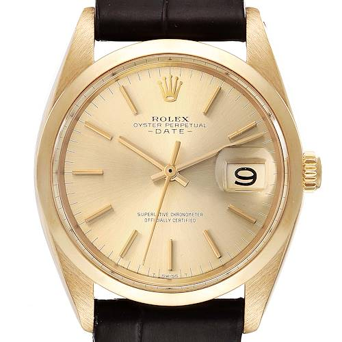 Photo of Rolex Date 18k Yellow Gold Champagne Dial Vintage Mens Watch 1500