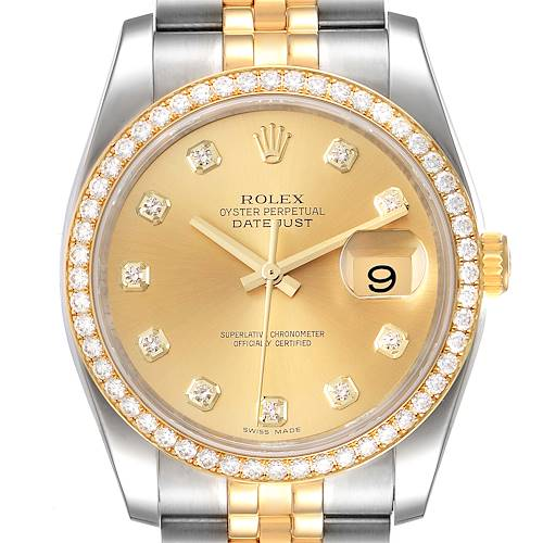 Photo of Rolex Datejust 36 Steel Yellow Gold Champagne Dial Diamond Watch 116243