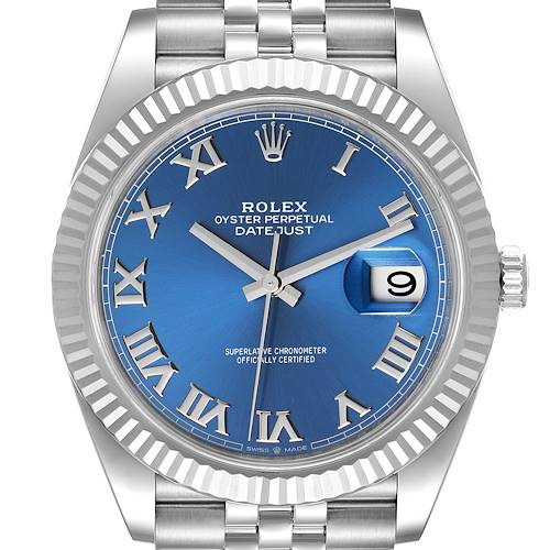 Photo of Rolex Datejust 41 Steel White Gold Blue Dial Mens Watch 126334 Box Card