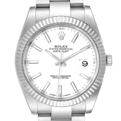 Photo of Rolex Datejust 41 Steel White Gold Fluted Bezel Mens Watch 126334 Box Card