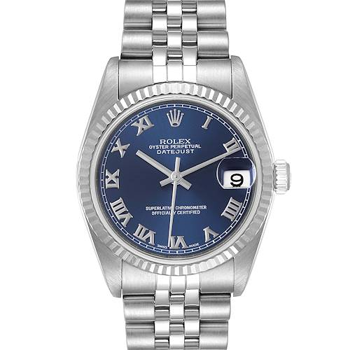 Photo of Rolex Datejust Midsize Steel White Gold Blue Roman Dial Ladies Watch 78274