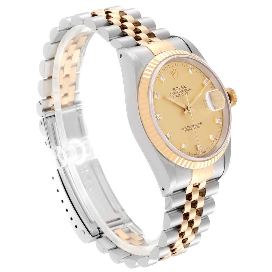 Rolex Datejust Steel 18K Yellow Gold Diamond Dial Mens Watch 16233 Box Card SwissWatchExpo