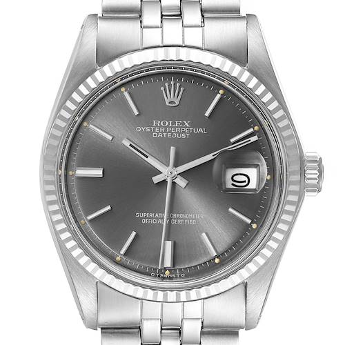 Photo of Rolex Datejust Steel White Gold Grey Sigma Dial Vintage Mens Watch 1601