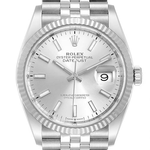 Photo of Rolex Datejust Steel White Gold Silver Dial Mens Watch 126234 Box Card