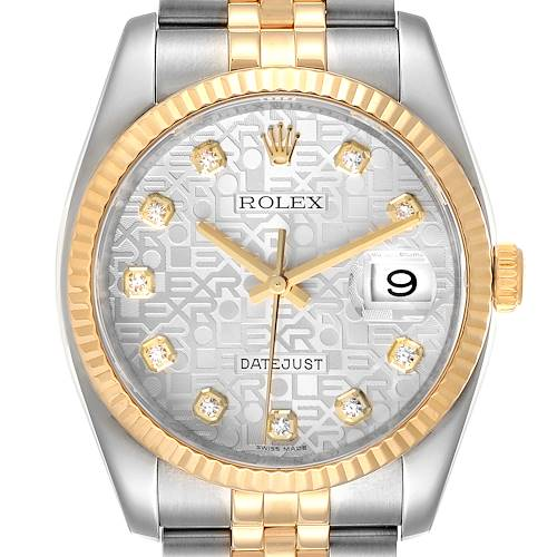 Photo of Rolex Datejust Steel Yellow Gold Diamond Dial Mens Watch 116233