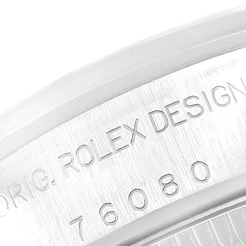 Rolex Oyster Perpetual Nondate Black Dial Steel Ladies Watch 76080 SwissWatchExpo