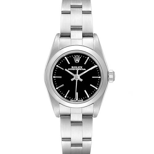 Photo of Rolex Oyster Perpetual Nondate Black Dial Steel Ladies Watch 76080