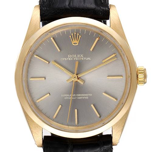 Photo of Rolex Oyster Perpetual Yellow Gold Grey Dial Vintage Mens Watch 1002