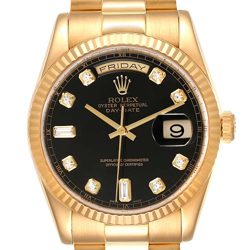 Photo of Rolex President Day Date Yellow Gold Black Diamond Dial Mens Watch 118238