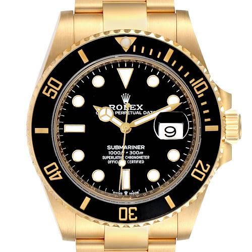 Photo of Rolex Submariner 18k Yellow Gold Black Dial Bezel Mens Watch 126618 Box Card