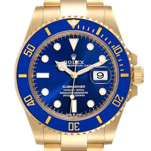 Photo of Rolex Submariner 18k Yellow Gold Blue Dial Bezel Mens Watch 126618 Box Card