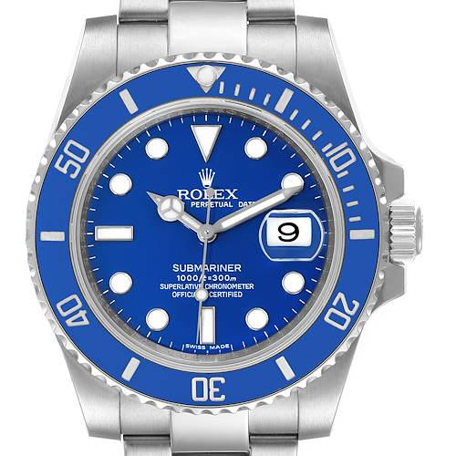Photo of Rolex Submariner White Gold Blue Dial Ceramic Bezel Watch 116619 Box Card