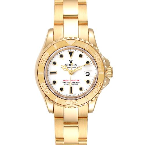 Photo of Rolex Yachtmaster 29 Yellow Gold White Dial Ladies Watch 69628