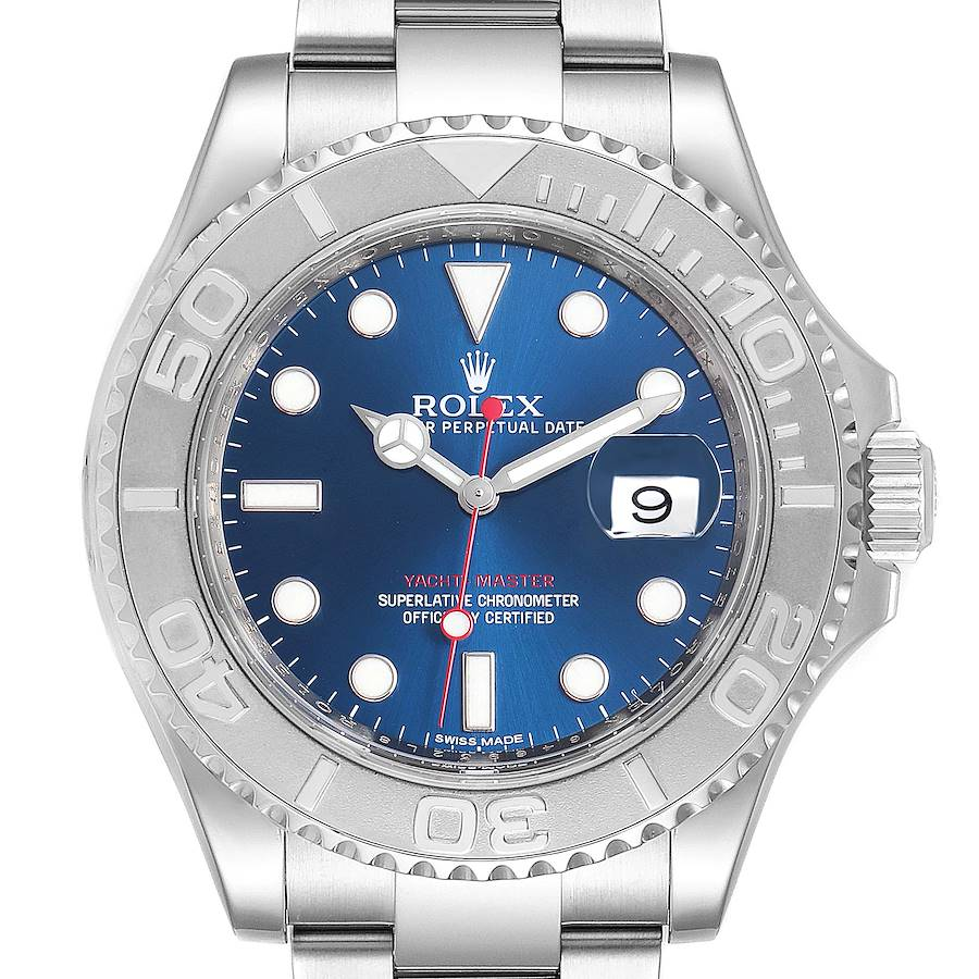 Rolex Yachtmaster 40mm Steel Platinum Blue Dial Mens Watch 116622 Box Card SwissWatchExpo