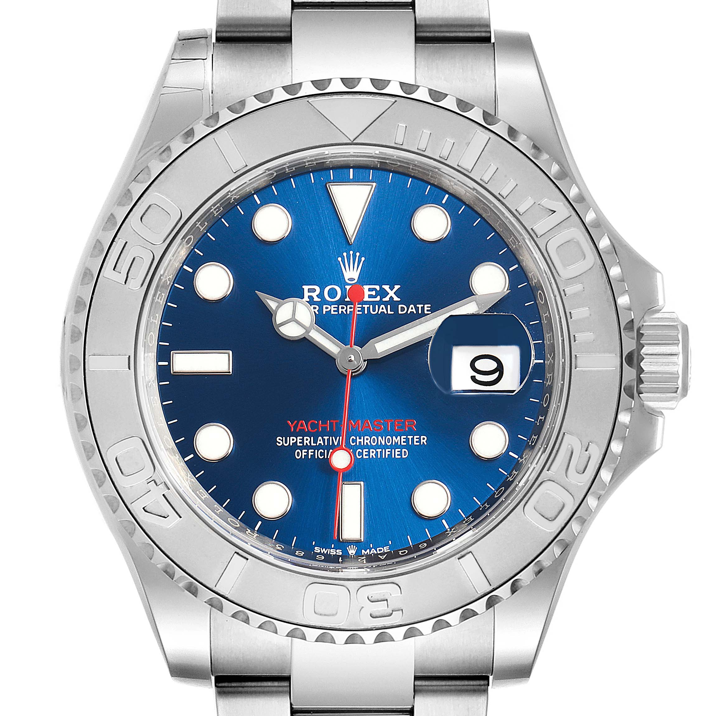 Rolex Yachtmaster Steel Platinum Blue Dial Mens Watch 126622 Unworn SwissWatchExpo