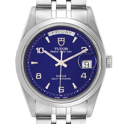 Photo of Tudor Glamour Day Date Blue Dial Steel Mens Watch 76200 Card