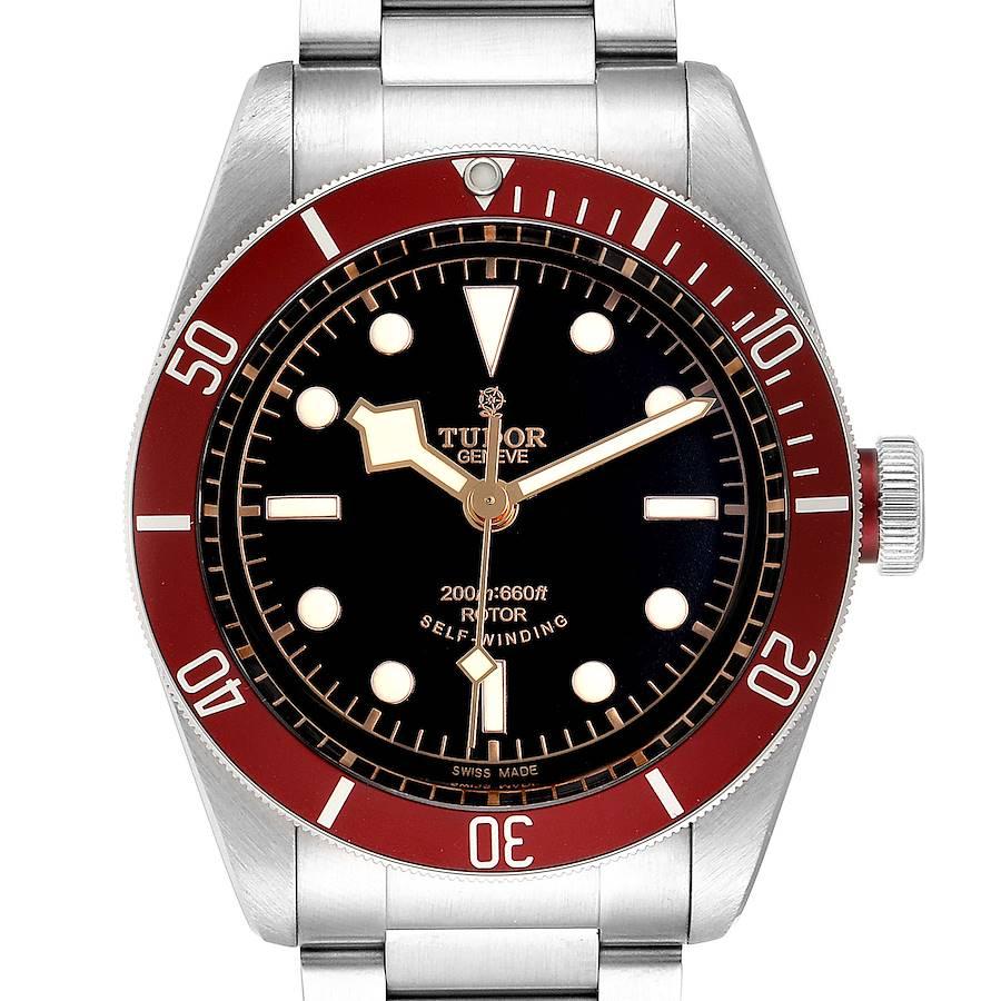 Tudor Heritage Black Bay Burgundy Bezel Steel Watch 79220R Box Card SwissWatchExpo