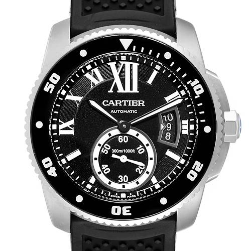 Cartier Calibre Diver Black Rubber Strap Steel Mens Watch W7100056