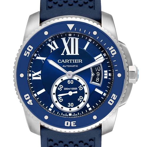 Cartier Calibre Diver Blue Dial Rubber Strap Steel Mens Watch WSCA0011