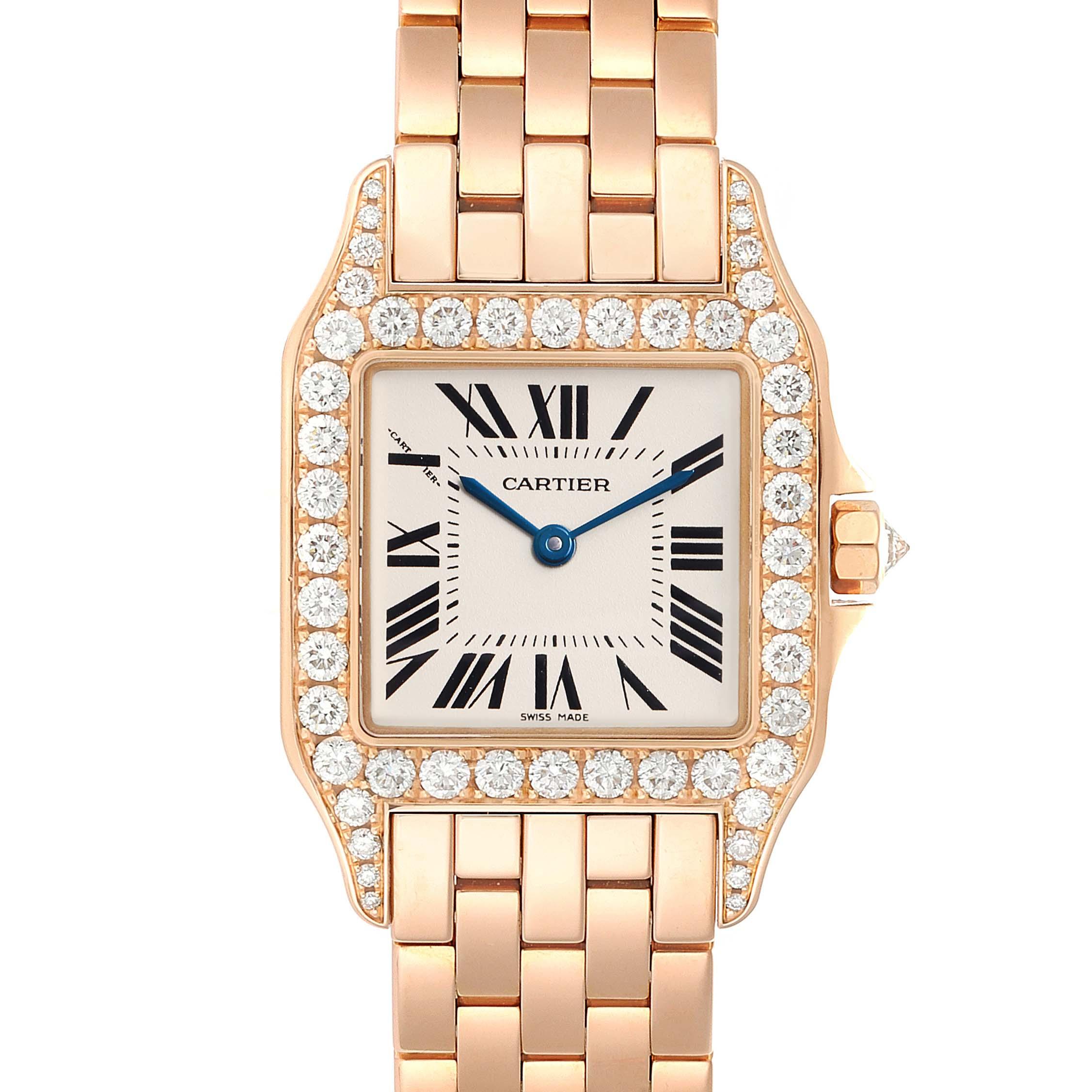 Cartier Santos Demoiselle Rose Gold Diamond Midsize Ladies Watch WF9007Z8 Box Papers SwissWatchExpo