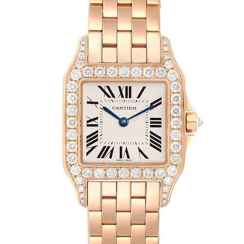 Photo of Cartier Santos Demoiselle Rose Gold Diamond Midsize Ladies Watch WF9007Z8 Box Papers