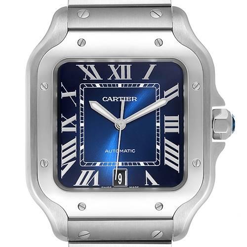 Photo of Cartier Santos Stainless Steel Blue Dial Mens Watch WSSA0030 Unworn