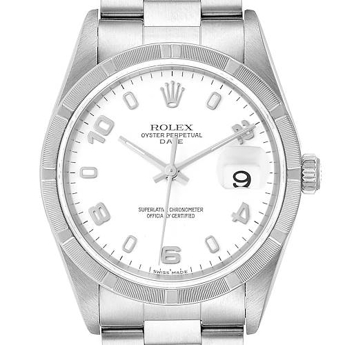 Photo of Rolex Date Stainless Steel White Dial Engine Turned Bezel Mens Watch 15210