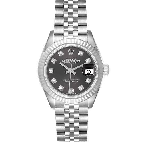Photo of Rolex Datejust 28 Steel White Gold Slate Diamond Dial Watch 279174 Unworn