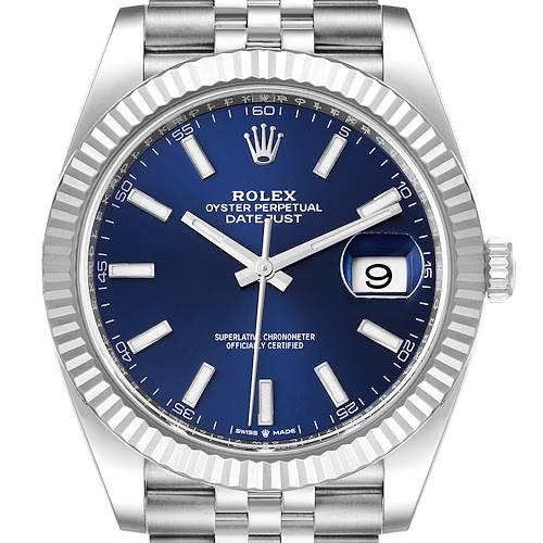 Photo of Rolex Datejust 41 Steel White Gold Blue Dial Mens Watch 126334 Unworn