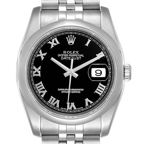 Photo of Rolex Datejust Black Sunbeam Dial Steel Mens Watch 116200 Box Papers