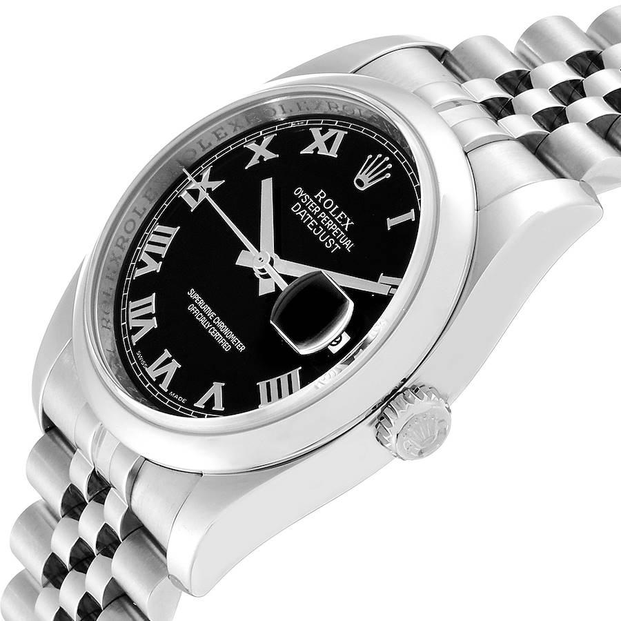 Rolex Datejust Black Dial Steel Mens Watch 116200 Box Papers SwissWatchExpo