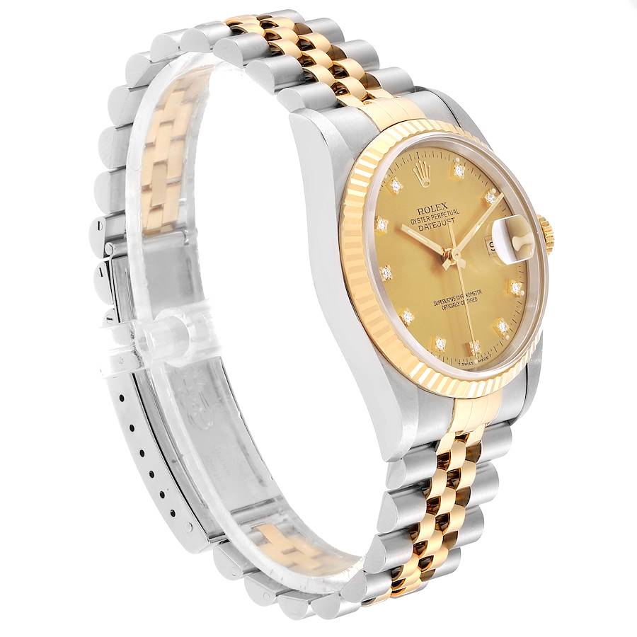 Rolex Datejust Steel 18K Yellow Gold Diamond Dial Mens Watch 16233 Box Card SwissWatchExpo