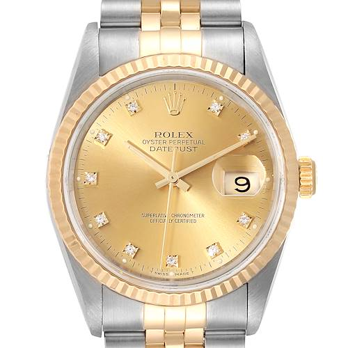 Photo of Rolex Datejust Steel 18K Yellow Gold Diamond Dial Mens Watch 16233 Box Card