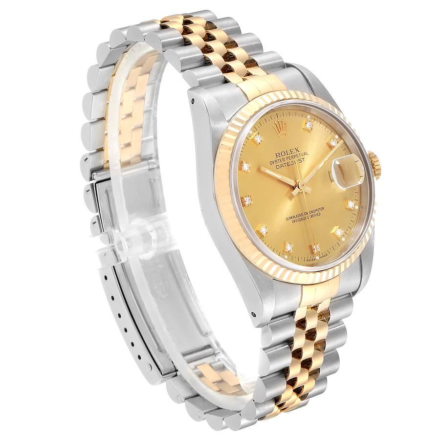 Rolex Datejust Steel 18K Yellow Gold Diamond Dial Mens Watch 16233 Box Papers SwissWatchExpo