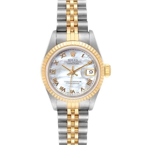 Photo of Rolex Datejust Steel Yellow Gold MOP Roman Dial Ladies Watch 69173 Box Papers