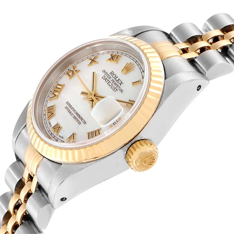 Rolex Datejust Steel Yellow Gold MOP Roman Dial Ladies Watch 69173 Box Papers SwissWatchExpo