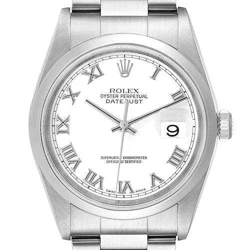 Photo of Rolex Datejust White Roman Dial Oyster Bracelet Steel Watch 16200 Box Papers