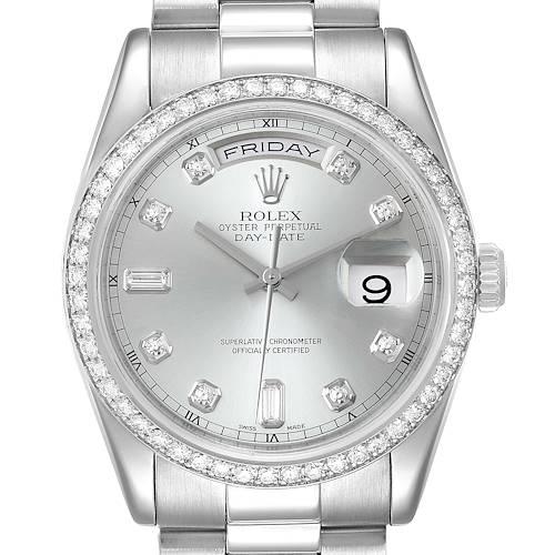 Photo of Rolex President Day-Date Platinum Diamond Mens Watch 118346 Box Service Card