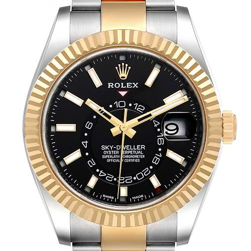 Photo of Rolex Sky Dweller Yellow Gold Steel Black Dial Mens Watch 326933 Box Card
