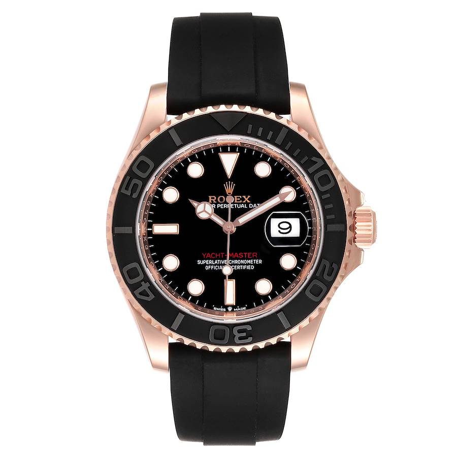 Rolex Yachtmaster 40mm Everose Gold Rubber Strap Watch 126655 Unworn SwissWatchExpo