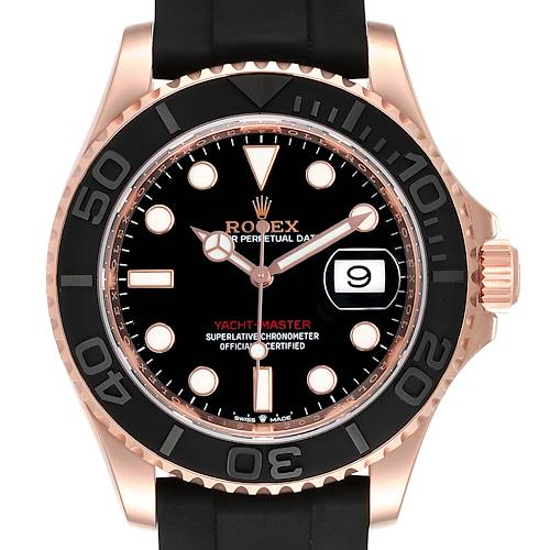 Photo of Rolex Yachtmaster 40mm Everose Gold Rubber Strap Watch 126655 Unworn