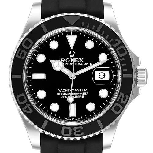 Photo of Rolex Yachtmaster White Gold Black Rubber Strap Watch 226659 Unworn