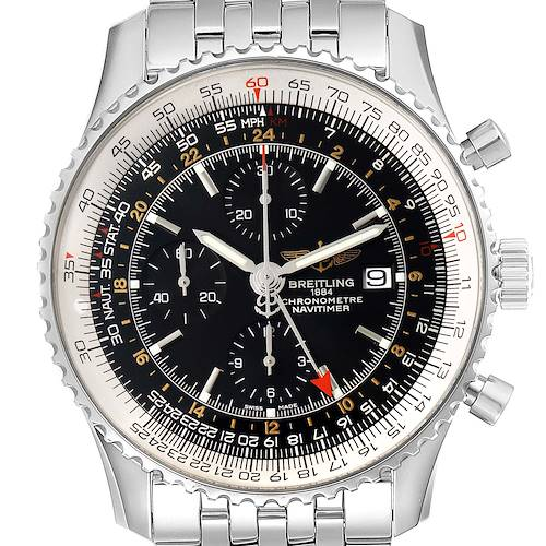 Photo of Breitling Navitimer World Black Dial Steel Mens Watch A24322 Box Papers